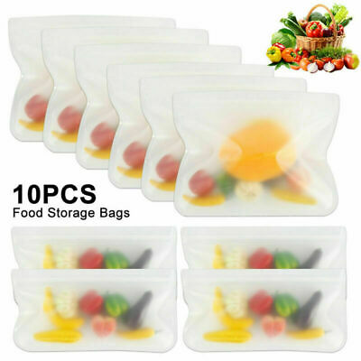 10PCS Kitchen Fresh Zip lock Bags Reusable Silicone Food Freezer Storage Ziplock