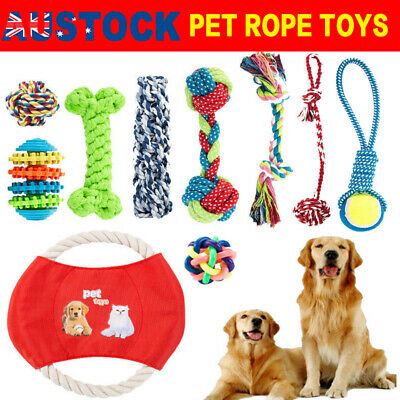 10x Dog Chew Knot Toys Teddy Pet Puppy Teeth Bear Braided Tough Strong Rope AU