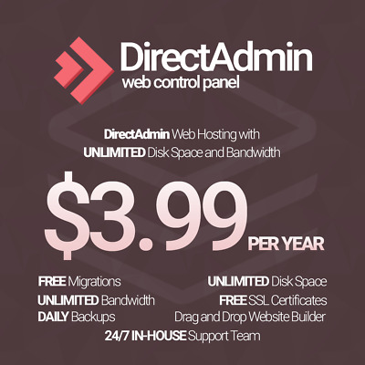 1 Year Unlimited SSD Website Web Hosting, DirectAdmin based with free SSL's