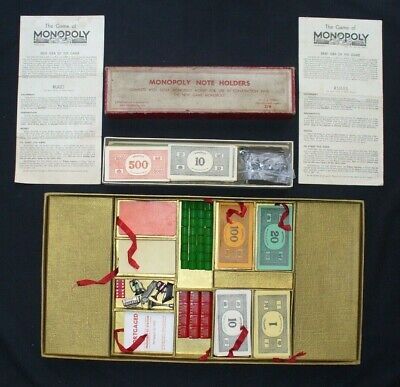 Rare Vintage Gold Deluxe Monopoly 1936 First Edition & Note/Money Holders.