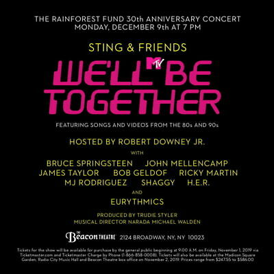Concert for the Rainforest Fund Tickets Springsteen/Sting Beacon Theatre Dec 9th