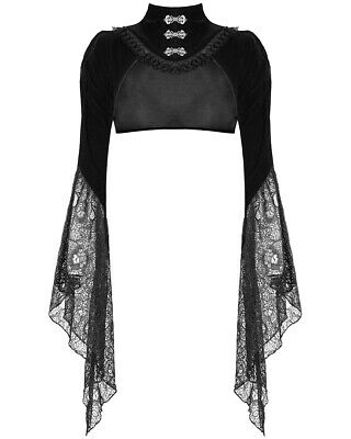 Dark In Love Gothic Bolero Shrug Top Black Velvet Lace Steampunk Victorian Witch