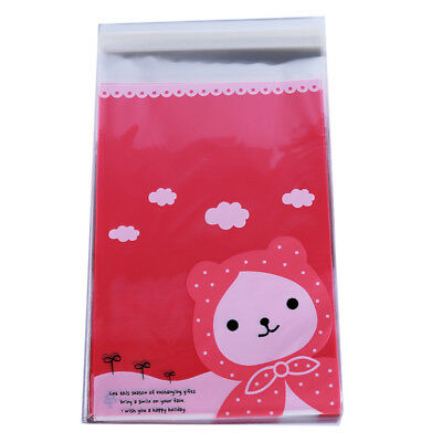 Bear in Scarf Self Adhesive Plastic Packaging Bag Snack Candy Storage Pouch 8C