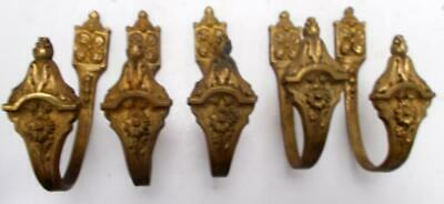 5 Matching Vintage French Bronze Curtain Tie Back Hooks / Wall Hooks