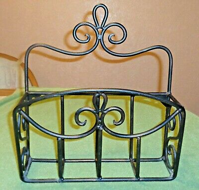 Older Heavy Wrought Iron Magazine Rack Holder- Wall Hanging or Self Standing