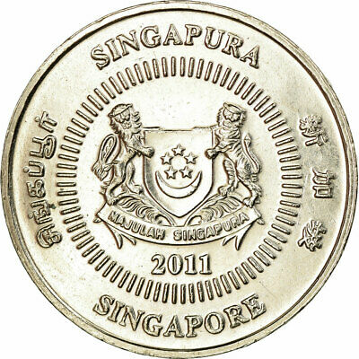 [#709924] Coin, Singapore, 50 Cents, 2011, Singapore Mint, EF, Copper-nickel