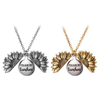 Engraved You Are My Sunshine Sunflower Open Locket Pendant Necklace Jewelry Gift