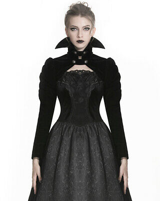 Dark In Love Womens Gothic Bolero Shrug Top Black Velvet Vampire Witch Steampunk