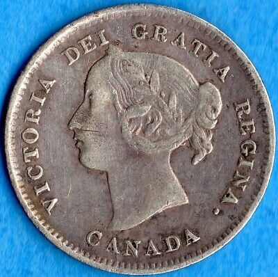 Canada 1897 5 Cents Five Cent Small Silver Coin - VF (weak reverse)