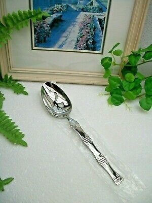 NEW  Wallace   Was249  BAMBOO   18/10  Stainless Steel  Pierced Serving Spoon