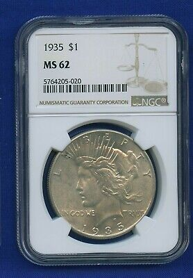 1935 P NGC MS62 Peace Silver Dollar $1 US Mint Better Date 1935-P NGC MS-62