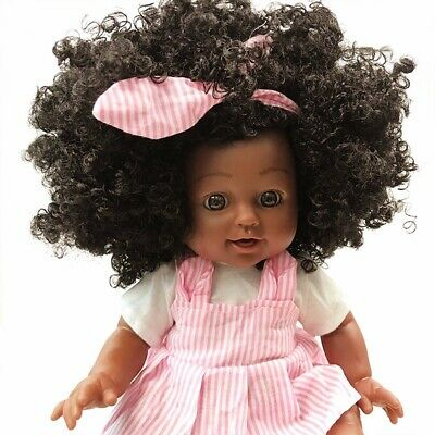 Black Doll 14 inch Reborn Girl Baby Doll African American Toys Children