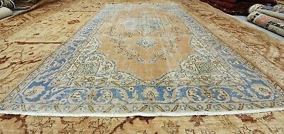 """Antique 1930-1940's Distressed Wool Pile Peach Dye Oushak Area Rug 5'10"""" x 9'"""