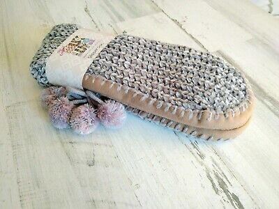 Muk Luks Women's Soft & Cozy Knit Slipper Socks Poms Gray L/XL NEW