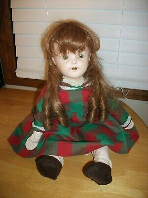 "VINTAGE 21"" COMPOSITION/CLOTH DOLL w/REDISH-BROWN HAIR CREEPY TIN EYES"