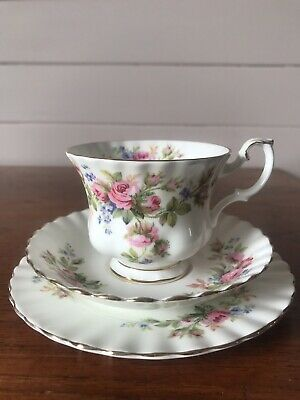 Vintage Royal Albert Moss Rose Tea Trio Cup Saucer And Plate Montrose Shape Cup