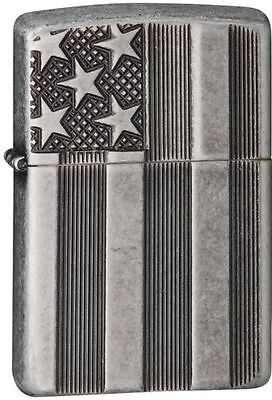 Zippo 28974, Armor, Stars & Bars-Flag, Antique Silver Plate Lighter