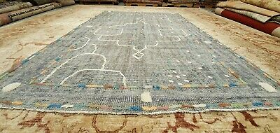 Sweet Antique 1940-1950's Distressed Wool Pile Natural Dye Oushak Area Rug 6x9ft