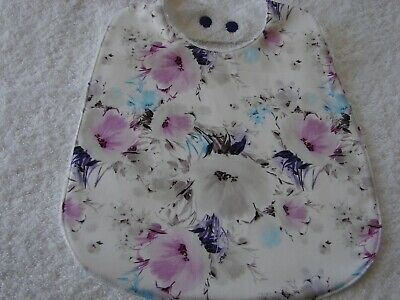 Pink & Grey Flowers White Baby Bib Cotton Front Towelling Back Handmade