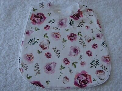 Pink Roses White Baby Bib Cotton Front Towelling Back Handmade