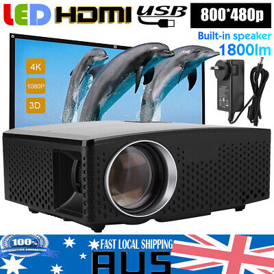 Multimedia 3D LED 1080P Projector Home Theater 1800LM Front&Rear Projection