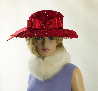 Red Hat Society Large Queen Mother Fancy Sassy Red Hat w/ Lace Rhinestones Bow