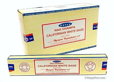'Californian White Sage' Nag Champa Satya Sai Baba Incense Sticks (15gx12) 180gm