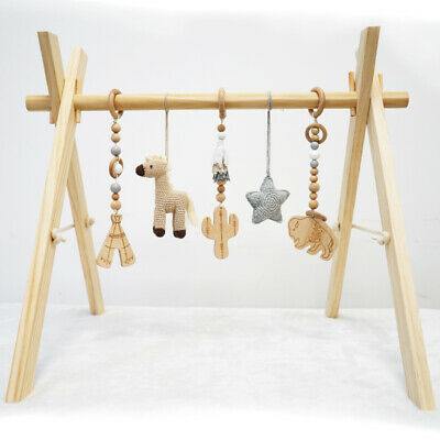 Activity Wooden Baby Play Gym Toys With Handmade Hanging Crochet Cowboy Horse