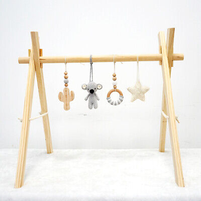 Activity Wooden Baby Play Gym Toys With Handmade Hanging Crochet Koala