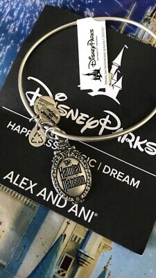 Disney Alex and Ani Haunted Mansion SILVER Bracelet Bangle Sign Gate Plaque  Z2