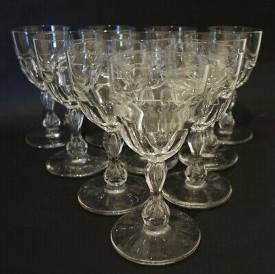 10 Antique Mid 19th Century Val St Lambert Wine Glasses Bubble in Stem
