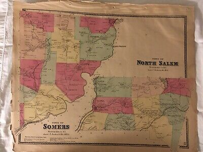 Towns of North Salem and Somers, NY 1867 Lithograph by F.W. Beers