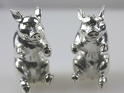 Silver Solid 800 Pigs Piggy  Salt And Pepper