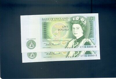 x2 Consecutive England English Somerset One Pound £1  Banknotes - #CT75 553512/3