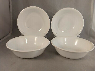 """Set of 4 Corelle Winter Frost White 6 1/4"""" Soup Cereal Bowls"""