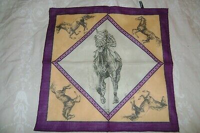 "New Macclesfield silk wool mix pocket square 17"" horses gold purple hand rolled"