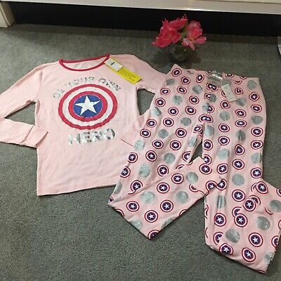 Gap Kids Captain America PJ Sleep 2 Piece Set Long  Sleeve Girls 14 NWT Marvel