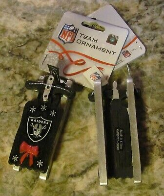 "Oakland Raiders Team Sled Christmas TREE ORNAMENT 3 1/2"" NFL Forever"
