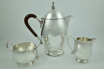 Excellent Art Deco Mappin & Webb Sterling Solid Silver Three Piece Tea Set
