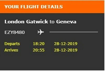 One way EASYJET flight Gatwick to Geneva 28th December - transfers included