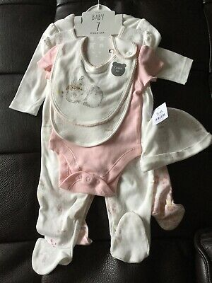 Baby Girl 7 Piece Outfit Set Sleepsuit Bib Vest 3-6 Months Brand New With Tags