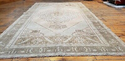 Rare Antique 1900-1939's Muted Natural Dye Wool Pile Oushak Area Rug 4'3''x7'4''