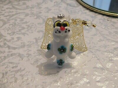 Kitty cat angel lamp work ornament with gold wings