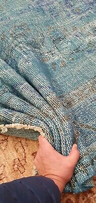 Antique 1930-1940's Distressed Wool Pile OverdyeTeal Blue Oushak Area Rug 5x9ft