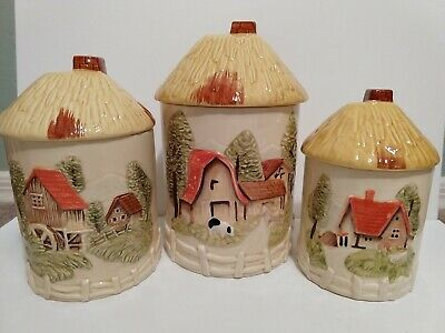 Vtg Marks and Rosenfeld Set (3) Farm House Barn Cottage Canisters Made in Japan