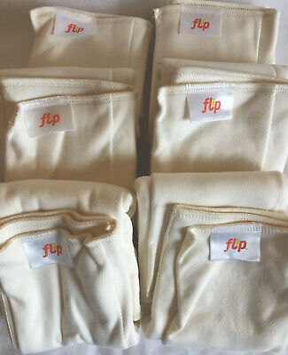 Flip BumGenius Night Time Nighttime Organic Cotton Diaper Inserts Lot Of 6 New