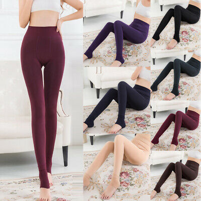 Women Winter Warm Thick Pants Fleece Lined Thermal Stretchy Slim Skinny Leggings