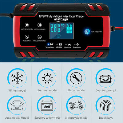 12V/24V LCD Automatic Electronic Car Battery Charger Fast/Trickle/Pulse Modes