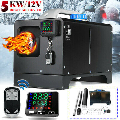5KW All In One 12V Diesel Air Heater LCD Remote Silencer Thermostat Trucks Boats