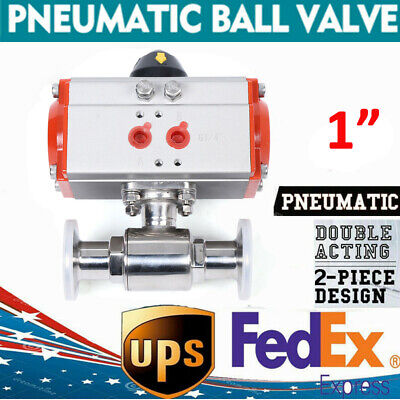 """Pneumatic Air Actuated Stainless Ball Valve 1"""" Inch Single Acting Air Return"""